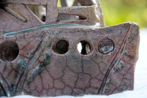 sculpture mimo-tsémé, bateau raku artiste peintre sculpteur