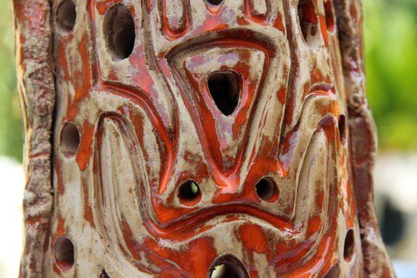 mimo-tseme sculpteur pied lampe terre argile et email