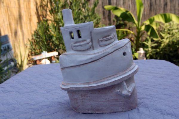 mimo-tsémé sculpture bateau émail patine blanc