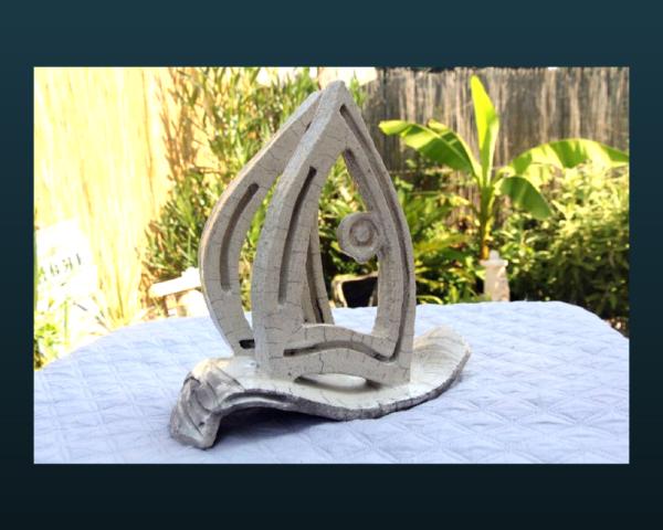 mimo-tseme sculpture bateau raku blanc