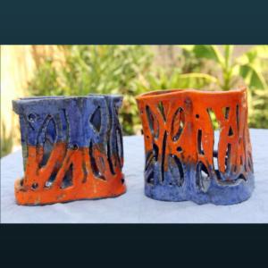 Home deco HD101 – Photophores orange et bleu