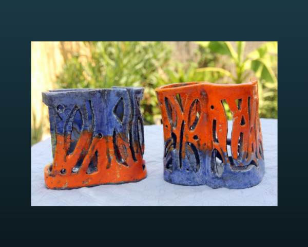 home deco mimo-tseme photophores orange et bleu